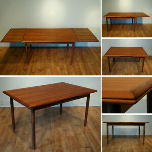 Table en teck restaurée / Restored teak table / Mid century