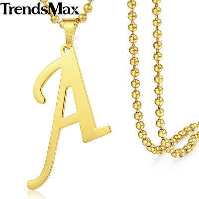 Men Women Gold Stainless Steel Chain A-Z 26 Initial Letter Pendant Necklace 22""