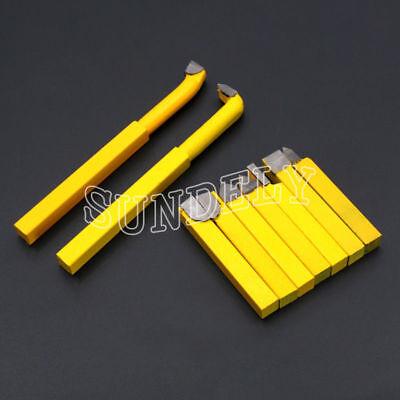 9 Pcs 8x8MM Carbide Tipped Lathe Metal Cutter Bit Cutting Tool Set Yellow