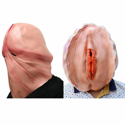 Penis Halloween Costume (3D Penis Head & Vagina Mask Dick Halloween Fantastic Whimsey Shell Party)