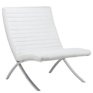 white Barcelona chair + bench(Available in black too)