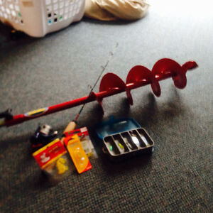 Ice fishing auger and tackle