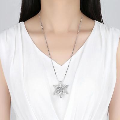 Silver Rhodium Plated Sparkling CZ Large Snowflake Pendant 25