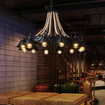 Industrial Large Chandelier Pendant Light Hemp Rope Iron Ceiling Light Fixture Large Ceiling Fixture