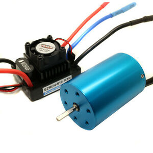 RC HSP 107051 Brushless Motor Blue 540 3300KV & Waterproof ESC 60A 2-3S Lipo