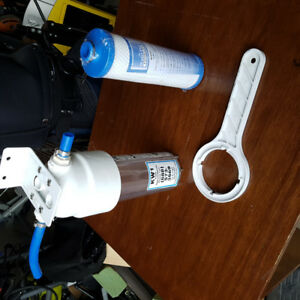 RV Water Filter system with new filter and wrench