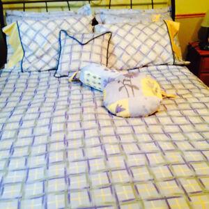 Pour lit Queen - housse réversible, 4 taies, coussins