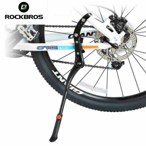 "New ROCKBROS Bike Aluminum Alloy Bicycle 24-29"" Adjustable Kickstand Black"