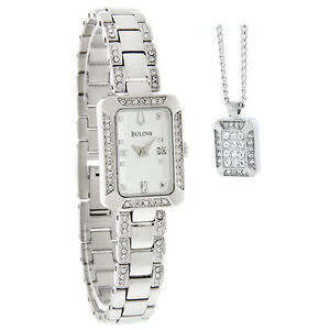 Bulova Ladies Rectangle Silver Dial Crystal Dress Quartz Watch w/Necklace 96X118