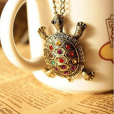 Used Women Crystal Cute Sea Turtle Charm Necklace Pendant Chain Sweater Chains