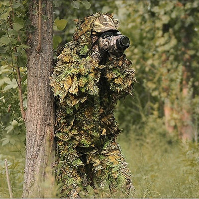 Leaf Woodland Camo Ghillie Suit Set 3D Jungle Forest Hunting Camouflage  New