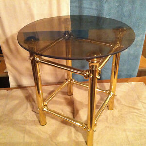 glass & brass end table