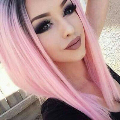 Women Fashion Wig Synthetic Ombre Pink Bob Hair Short Straight Dark Roots Wigs - Pink Bob