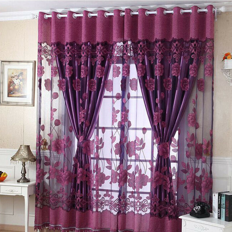Home Luxurious Jacquard Window Curtains Burnout Tulle for Li