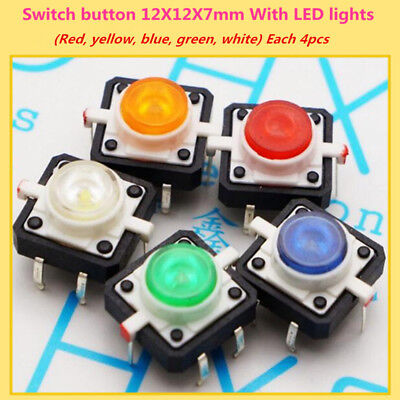 20 Pcslot Tactile Push Button Switch Momentary Tact 12x12x7mm With Led Lights