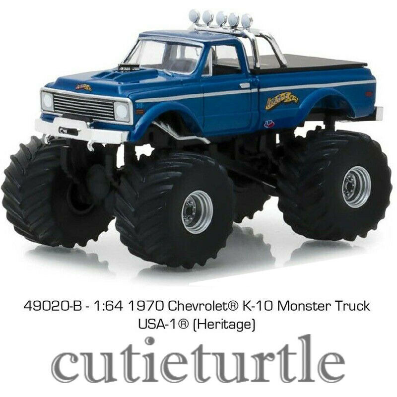 Greenlight 1970 Chevrolet K-10 Monster Truck Bigfoot 1:64 USA-1 Heritage 49020 B