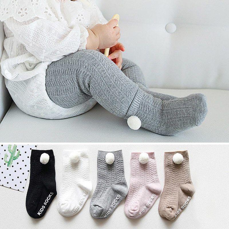 Soft Cotton Baby Socks Winter Pompom Ball Socks For Newborn