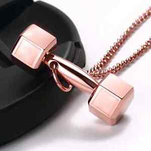 Fitness Dumbbell Pendant Necklace Jewelry Gold Rose Gold Black
