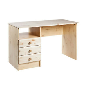 Desk - 3 drawer Natural Pine