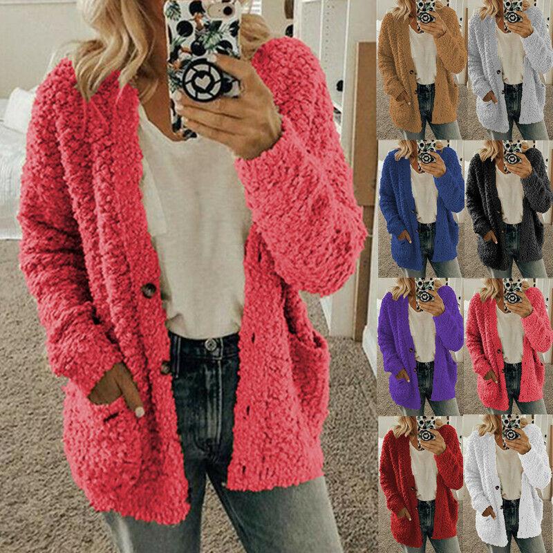 Womens Long Sleeve Fleece Fluffy Cardigan Sweater Pocket Coa