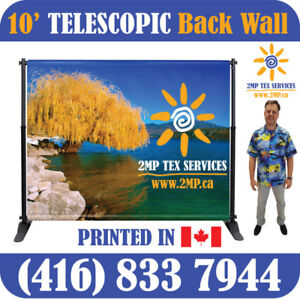 10' Wide Telescopic Back Wall Trade Show Backdrop Promo Display