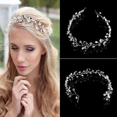 Wedding Bridal Crystals Pearls Tiara Hair Vine Headband Flower Hair piece - Hair Vine