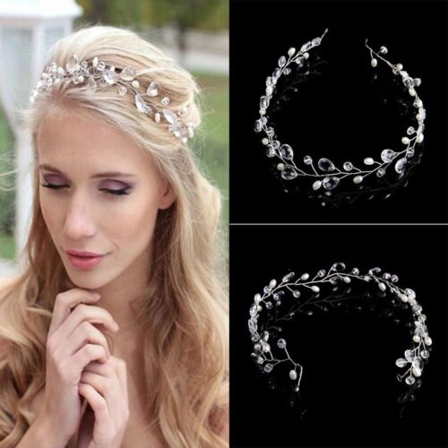 Wedding Bridal Crystals Pearls Tiara Hair Vine Headband Flower Hair piece W3 Bridal Accessories