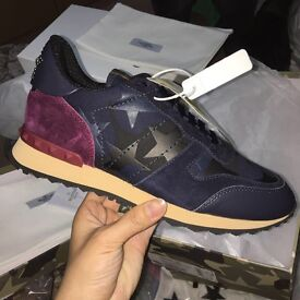 Valentino Garavani Navy & Burgundy Suede Rockrunner Sneakers Leather Men's Trainers