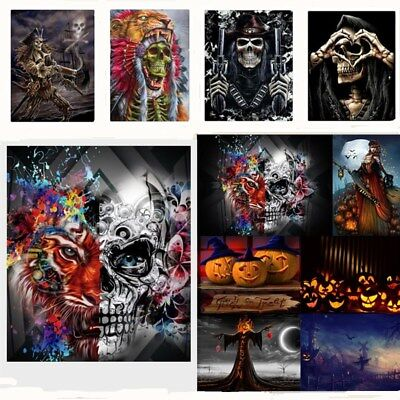 Halloween Skull DIY 5D Diamond Painting Embroidery Cross Sti