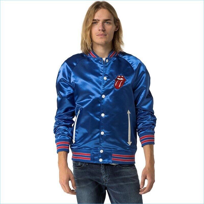 Rare Tommy Hilfiger Rolling Stones Blue Satin Bomber Mens Varsity Jacket