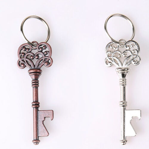 2Pcs/Set Vintage Metal Key Shaped Keychain Beer Bottle Opene