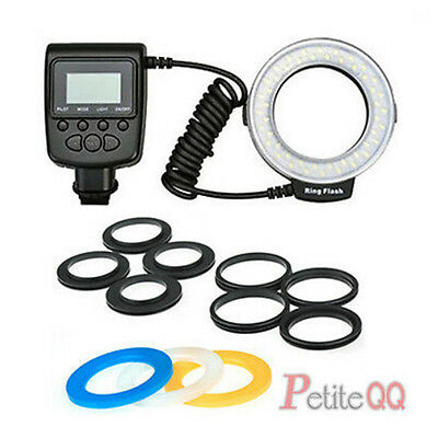 48 LED Macro Ring Flash Continuous Light + 8 Lens Adapter for Canon Nikon Camera