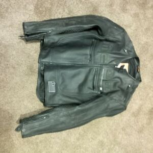 Icon black leather motorcycle jacket sz xl