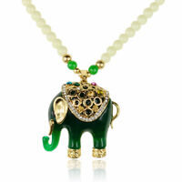 Crystal Jade Green Acrylic Beads Elephant Sweater Charm Pendant