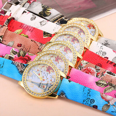 $1.98 - Fashion Women's Watch Crystal Stainless Steel Leather Analog Quartz Wrist Watch