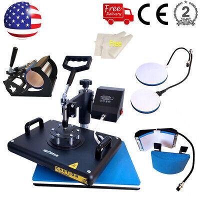 5 In 1 Heat Press Machine Swing Away Digital Sublimation T-shirts Mug Hat Plate