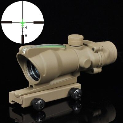 ACOG Style 4X32 Green Fiber Source Crosshair Illuminated Rifle Scope Tan Color