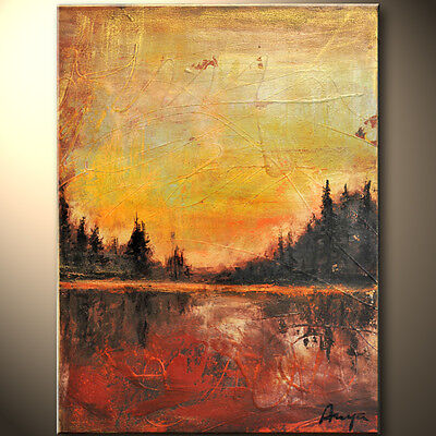 Red Abstract Gallery (Beautiful Red Metallic bronze gold Modern Abstract painting Gallery Artist)