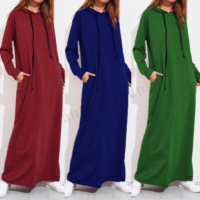 US STOCK Womens Loose Autumn Hoodie Casual Pullover Long Max