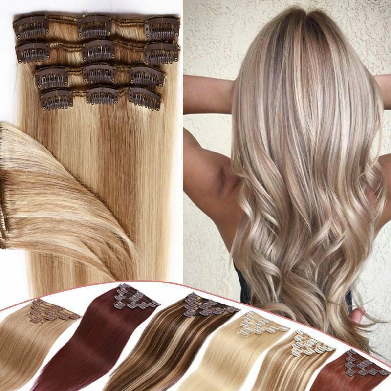 Remy 100% Echthaar Clip In On Human Hair Extensions 8 Haarteile mit 18 Clips DE