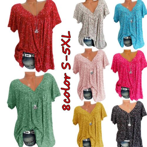 Women Summer Boho Short Sleeve Floral V Neck T Shirt Blouse Casual Tunic Tops