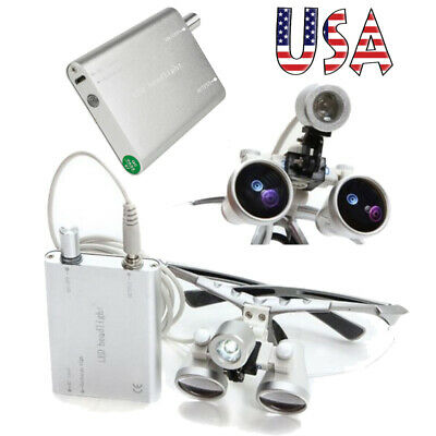 Dental 3.5x 420mm Binocular Loupes Optical Glass Led Head Lamp Surgery Tool Flip