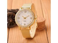 Classy Women Ladies Watch Crystal Roman Numerals Gold Mesh Band Wrist Watch UK