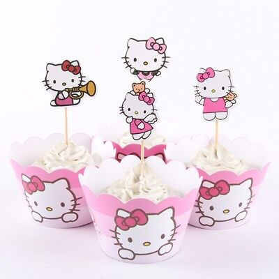 48 PCS Pink Hello Kitty Birthday Party Cupcake 24 Wrappers + 24 Toppers Supply  - Hello Kitty Party Supply