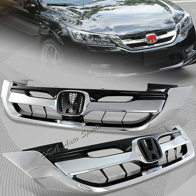 For 2013-2015 Honda Accord 4DR / Sedan Chrome ABS Front Hood Modulo Grille Grill