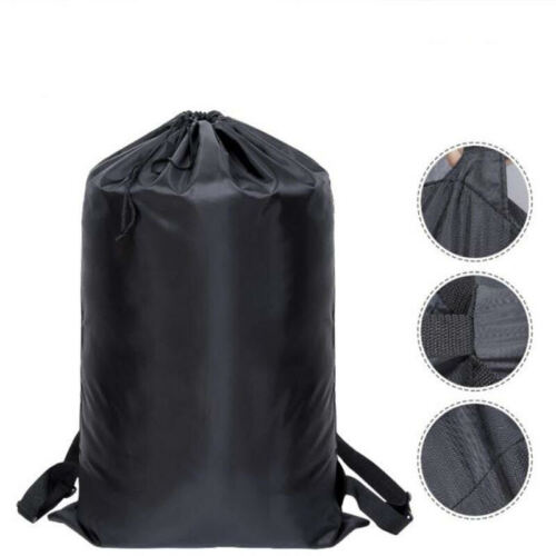 US Extra Large Black Laundry Bag Heavy Duty Polyester Material Laundry Backpack