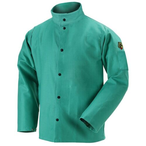 Welding Jacket Green, Black Stallion 9oz Flame-Resistant Cotton F9-30C X-Large
