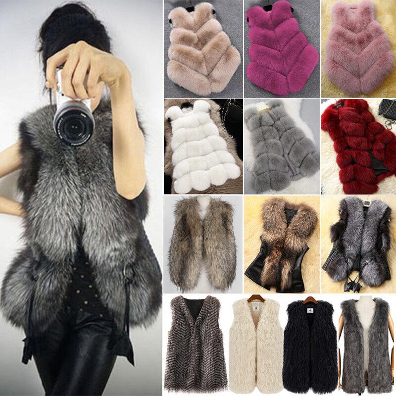 Fashion Faux Fur Womens Jacket Coat Body Sleeveless Vest Wai