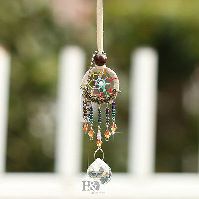 Ivory Dreamcatcher Crystal Prism Ball Window Hanging Decor Suncatcher Gift