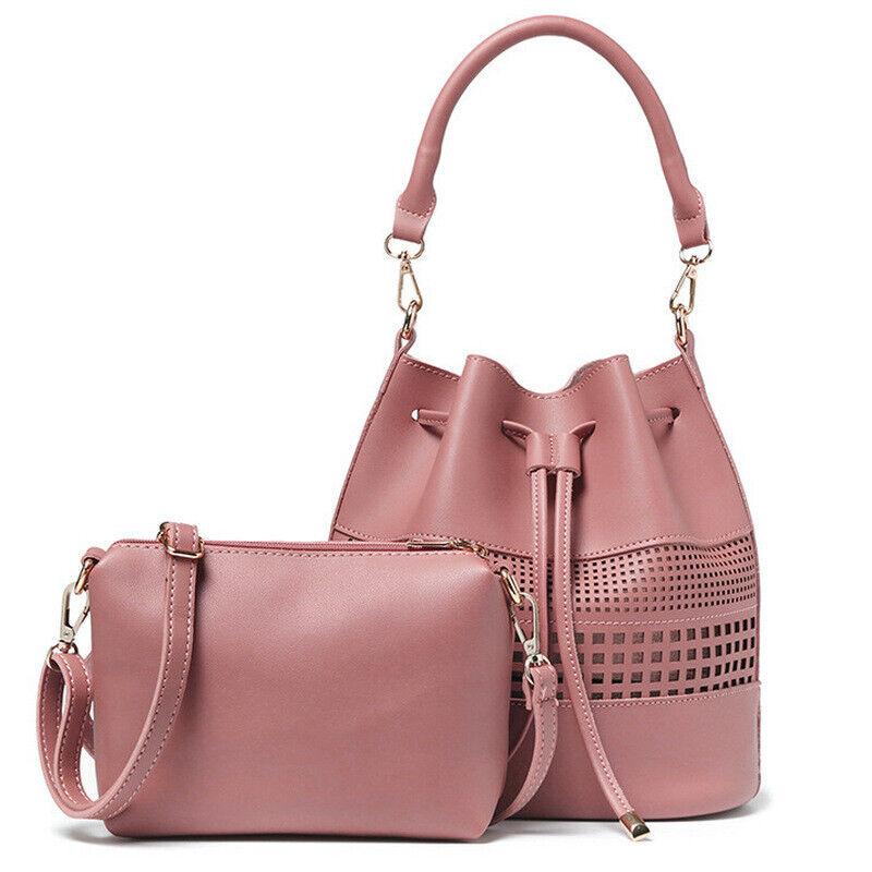 Damen Schultertasche Handtasche 2-teiliges Set Pink Sommer Tasche Leder Look neu